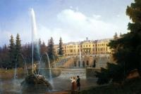 Вид на Большой каскад фонтанов Петергофа и на Большой дворец Петергофа. 1837