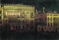 Дворец Ка д'Ордо в Венеции при луне. 1878
