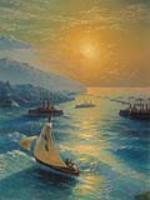 Корабль на Феодосийском рейде. Чевствование Айвазовского по случаю его 80-летия. 1897