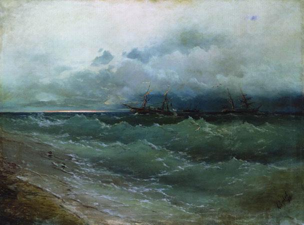 Корабли в бурном море. (Айвазовский И.К.)