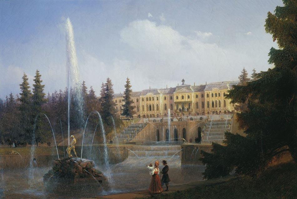 Вид на Большой Каскад и Большой Петергофский дворец. 1837