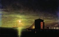Лунная ночь. Купальня в Феодосии (И.К. Айвазовский)