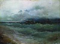 Корабль в бурном море. Восход солнца. 1871