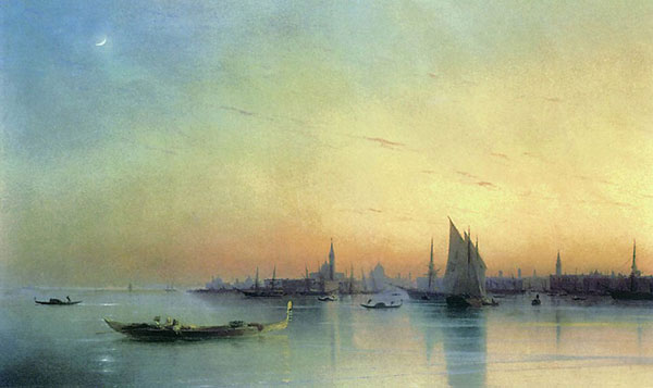 Вид Венеции с лагуны при закате. (Айвазовский И.К.)
