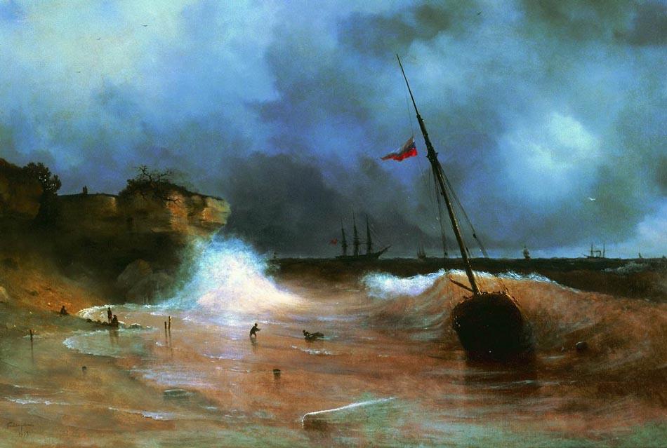 Конец бури на море. 1839
