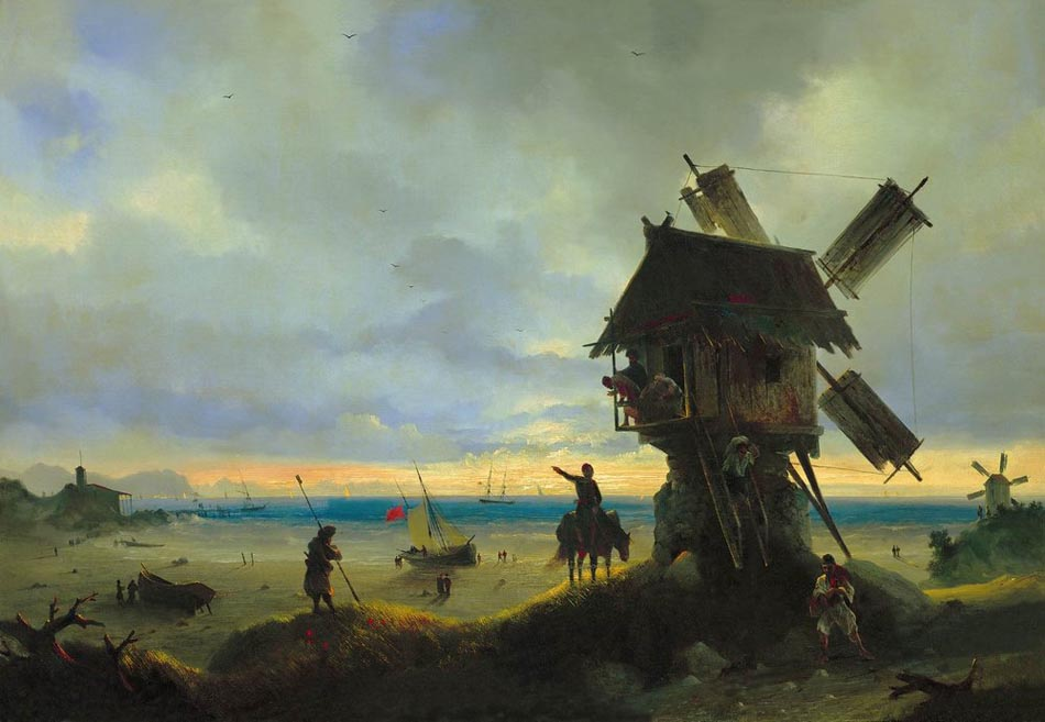 Ветряная мельница на берегу моря. 1837