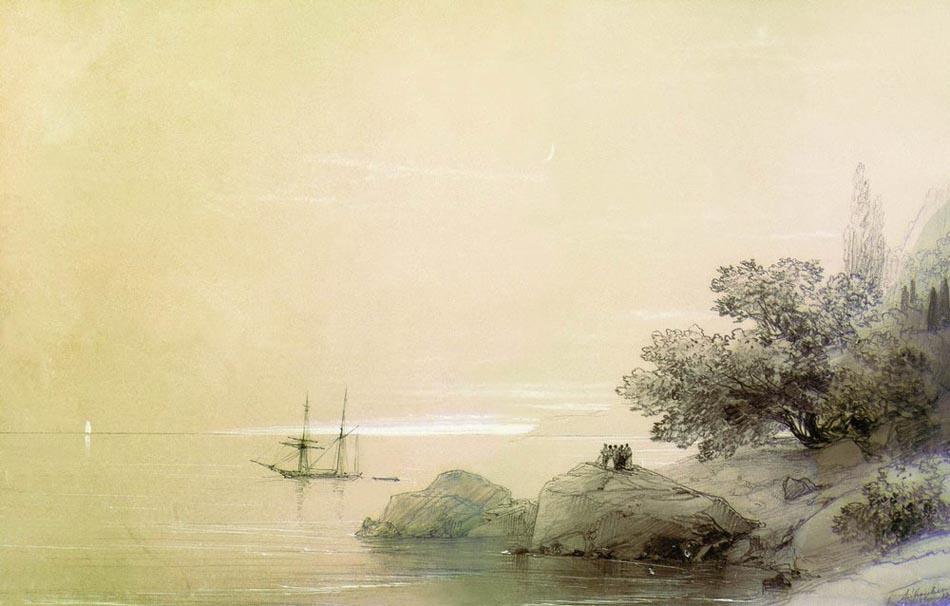 море у скалистого берега