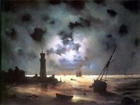 Берег моря ночью. У маяка (И.К. Айвазовский)