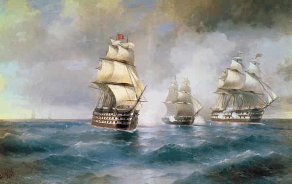 Бриг Меркурий, атакованный двумя турецкими кораблями.