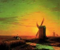 Ветряные мельницы в украинской степи при закате солнца. 1862