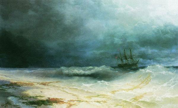 Корабль в бурю. (Айвазовский И.К.)
